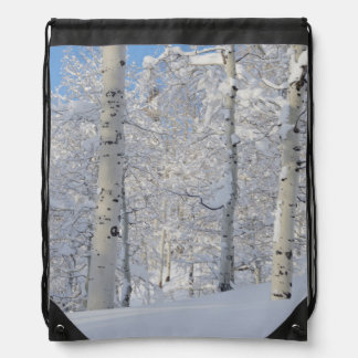 Snow-Covered Aspens, Beartrap-Desolation Ridge Drawstring Bag