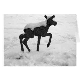 Snow Covered Baby Moose Greeting Card