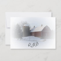 Snow Covered Barn and Silo Winter Wedding RSVP