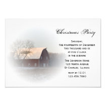 Snow Covered Barn Country Christmas Party Invitation