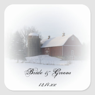 Snow Covered Barn Country Wedding Envelope Seals Square Sticker