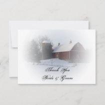 Snow Covered Barn Silo Winter Wedding Thank You