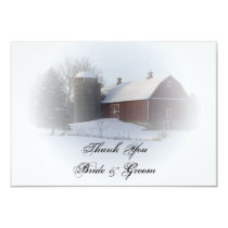 Snow Covered Barn Silo Winter Wedding Thank You Card