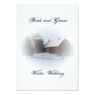 Snow Covered Barn Wedding Invitation