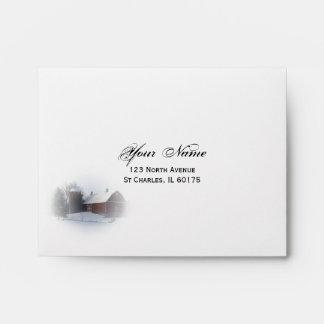 Snow Covered Barn Wedding RSVP Card Envelope