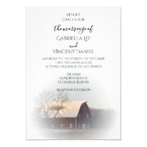 Snow Covered Barn Winter Country Wedding Invitation