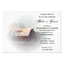 Snow Covered Barn Winter Country Wedding Invite