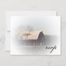 Snow Covered Barn Winter Country Wedding RSVP