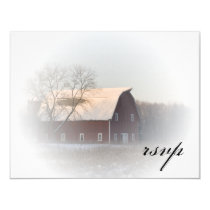 Snow Covered Barn Winter Country Wedding RSVP Card