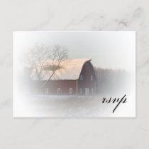 Snow Covered Barn Winter Wedding RSVP