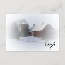 Snow Covered Barn Winter Wedding RSVP Response
