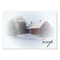 Snow Covered Barn Winter Wedding RSVP Response Card