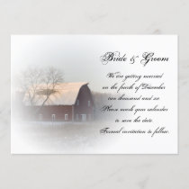 Snow Covered Barn Winter Wedding Save the Date