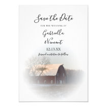 Snow Covered Barn Winter Wedding Save the Date Invitation