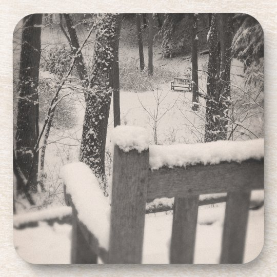 Snow Covered Benches Beverage Coaster