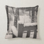 Snow Covered Benches Throw Pillows