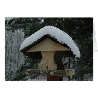 Snow Covered Bird Feeder Card