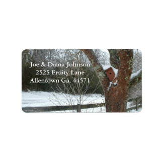 Snow Covered Birdhouse Address Label