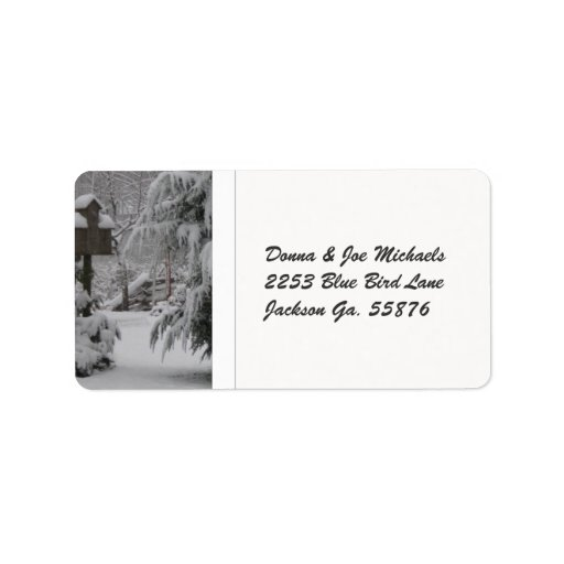 Snow Covered Birdhouse Personalized Address Label