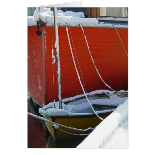 Snow Covered Boats Card