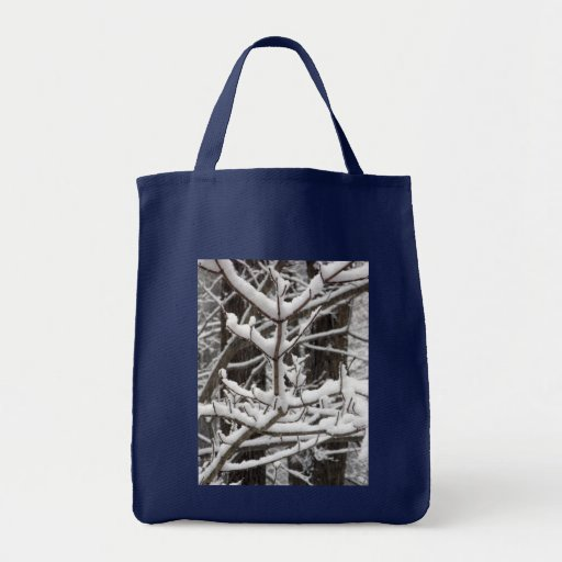 Snow-covered Branches Canvas Bags