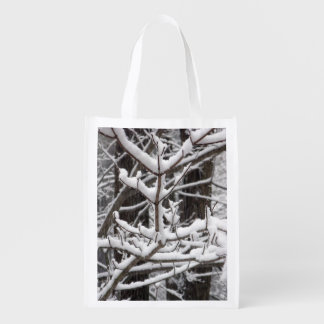 Snow-covered Branches Reusable Grocery Bag