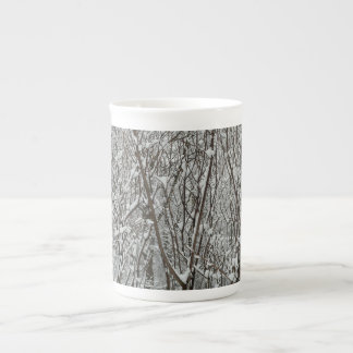 Snow Covered Branches Winter Abstract Photography Tea Cup