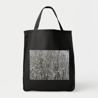 Snow Covered Branches Winter Abstract Photography Tote Bag