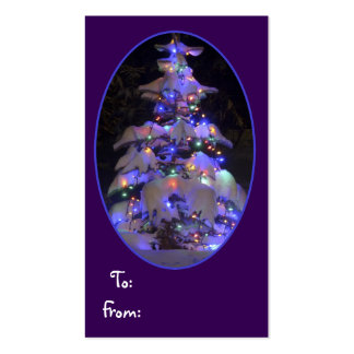 Snow Covered Brightly Lit Christmas Tree Double-Sided Standard Business Cards (Pack Of 100)