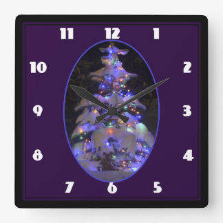 Snow Covered Brightly Lit Christmas Tree Square Wall Clock