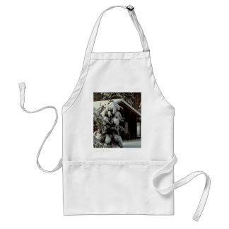 Snow Covered Cabin Adult Apron