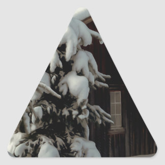Snow Covered Cabin Triangle Sticker