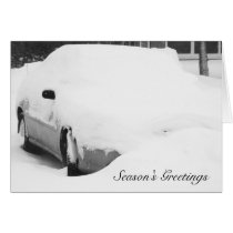 Snow Covered Car Card