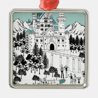 Snow Covered Castle Metal Ornament