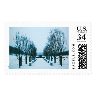 Snow-Covered Cemetery Postage Stamps