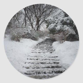 Snow Covered Central Park NYC Landscape Classic Round Sticker