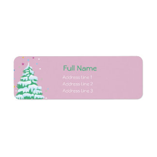 Snow covered christmas tree -christmas labels