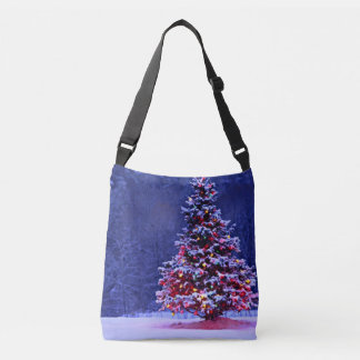 Snow Covered Christmas Tree Crossbody Bag