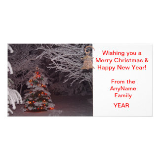 Snow Covered Christmas Tree Holiday Photo Card Picture Card