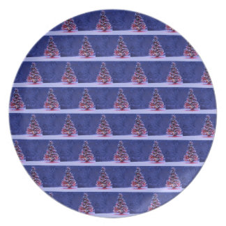 Snow Covered Christmas Tree Melamine Plate