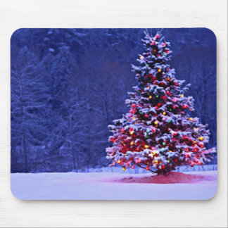 Snow Covered Christmas Tree Mouse Pad