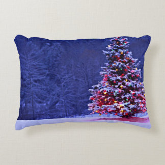 Snow Covered Christmas Tree on a Serene Night Decorative Pillow