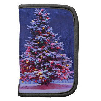 Snow Covered Christmas Tree on a Serene Night Organizers