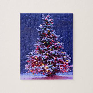 Snow Covered Christmas Tree on a Serene Night Puzzles