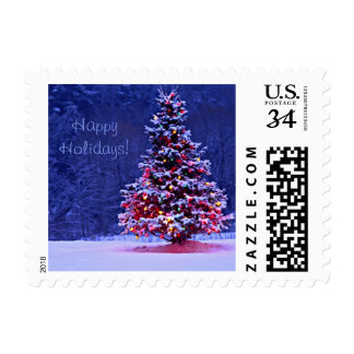 Snow Covered Christmas Tree Postage
