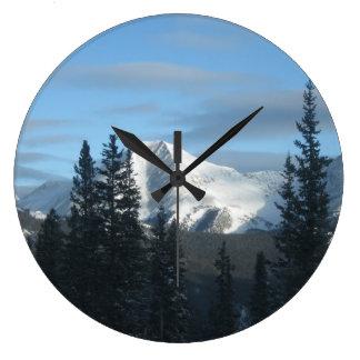 Snow Covered Colorado Rocky Mountains Round Wall Clocks