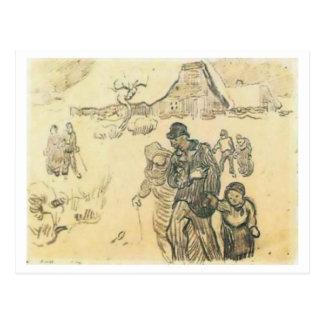 Snow-Covered Cottages, Couple Child Van Gogh Fine Postcard