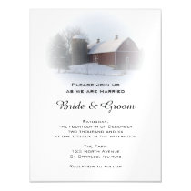 Snow Covered Country Barn and Silo Winter Wedding Magnetic Invitation