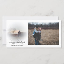 Snow Covered Country Barn Happy Holidays Holiday Card