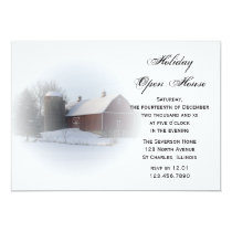 Snow Covered Country Barn Holiday Open House Party Card